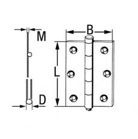 Charnière en laiton sur axe en acier inoxydable