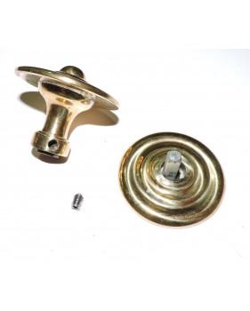 Assemblage bouton de porte palière mouluré en laiton