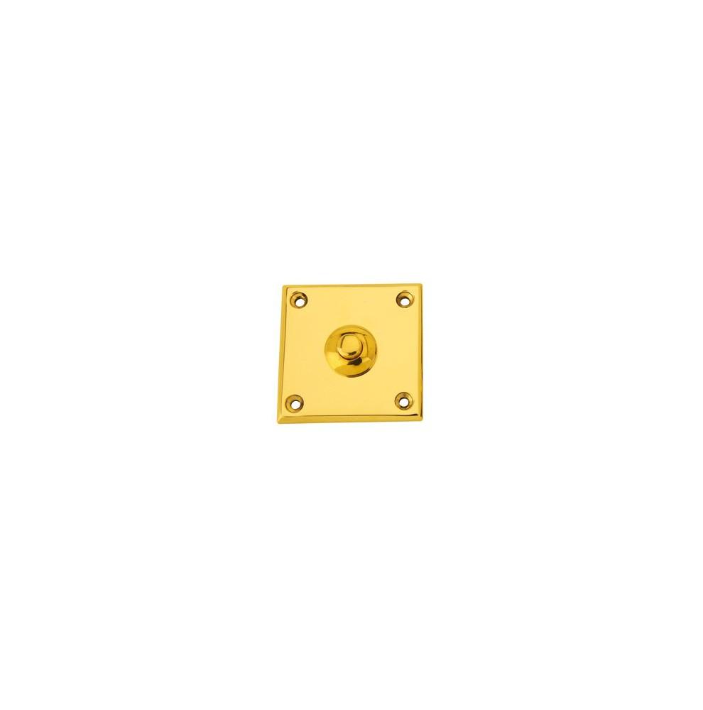 Bouton de sonnette carré en laiton poli