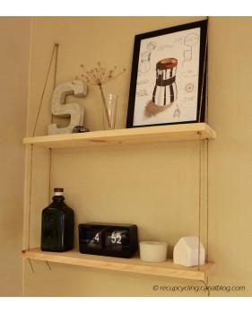 Etagère DIY en bois et cordage