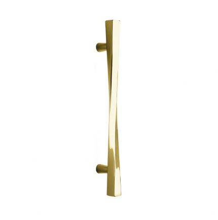 Poignée longue torsadée de porte principale en laiton
